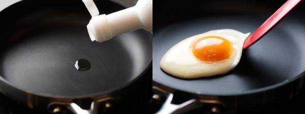スキャンパンなら使う油はほんの数滴の油でOK。目玉焼きがこびりつかない
