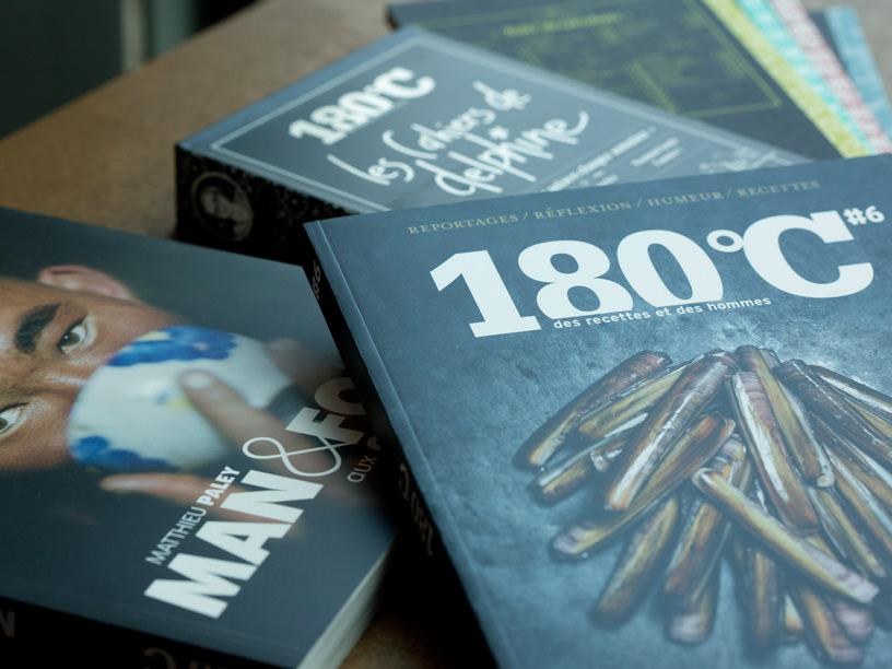 『180℃』の表紙、『MAN&FOOD』の表紙、『les Cahiers de delphine』の表紙