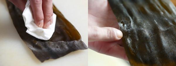昆布を日本酒で湿らせているところ。昆布の白くなっている部分はうまみなので拭かなくてよい