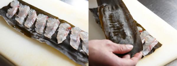 昆布に白身魚を並べて、もう一枚昆布を重ねる