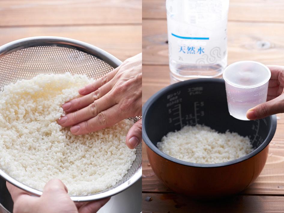 洗った米の水気をきって炊飯釜に入れ、計量カップで水を計って入れる