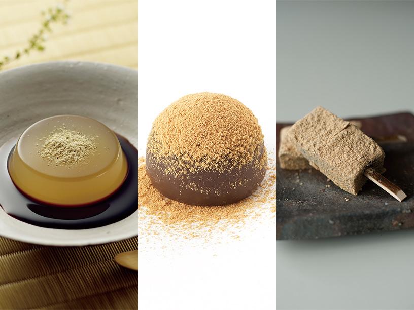 (左)銀座あけぼののわらび餅,(中央)たねやのわらび餅,(右)鈴懸の本蕨餅