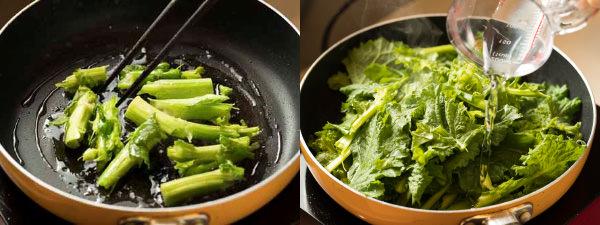 青菜はかたい茎の部分、やわらかい部分の順で炒める。途中で水を加えて蒸し焼きにする