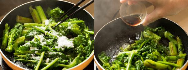 砂糖を加えて混ぜ、鍋肌からしょうゆを注ぐ