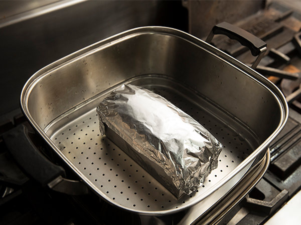 アルミ箔で包んで、加熱する