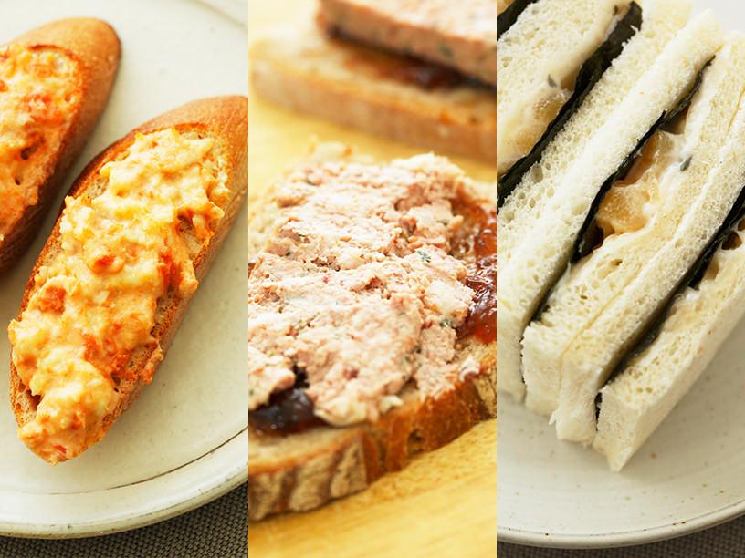 左:魚製のサーモンチーズスプレッド、中央:エディアールのパテドカンパーニュ、右:新潟加島屋の海山漬