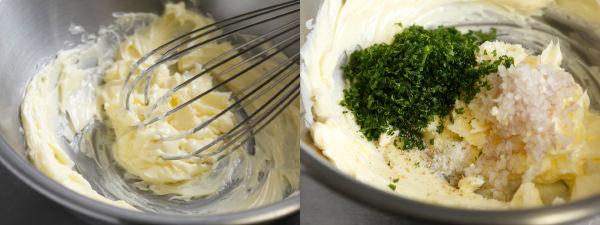 泡立て器でバターを混ぜ、すべての材料を入れたところ