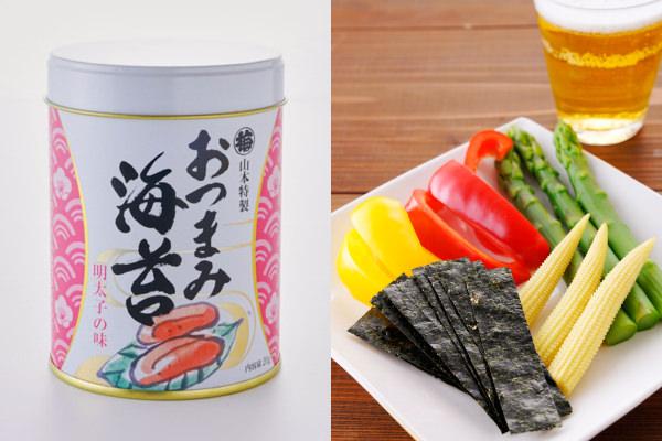 山本海苔店の「おつまみ海苔 明太子の味」とビールと一緒に食べるイメージ