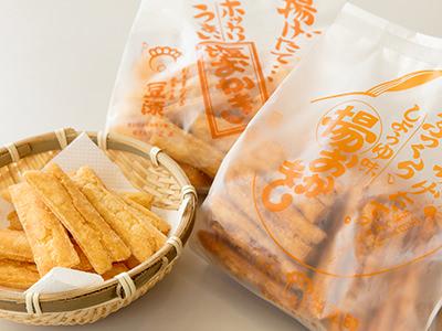 豆源の「塩おかき」としょうゆ味の「揚おかき」