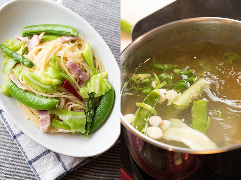 シンプルパスタと野菜くずでパスタをゆでるイメージ