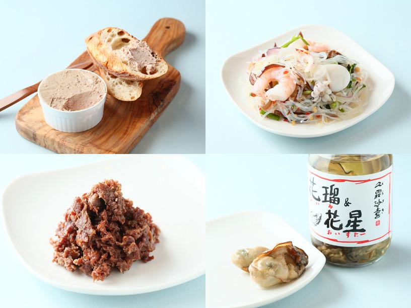 左上:レブレの鶏レバーのムースとバゲット,左下:柿安のうすだき 牛肉しぐれ煮,右上:マンゴツリーデリのヤムウンセン,右下:久羅沙喜の花瑠(オイル)&花星(オイスター)