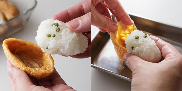 油揚げに寿司飯を詰めている様子