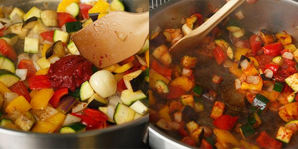 野菜を加えて塩をふってトマトペーストを加え、炒める様子