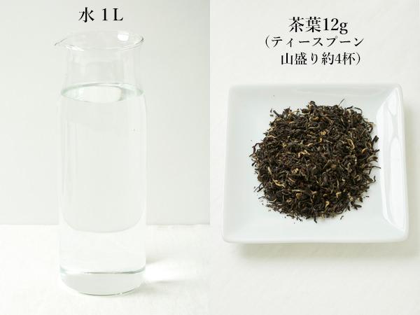 (左)水1Lを入れたサーバー、(右)茶葉12gを入れたお皿