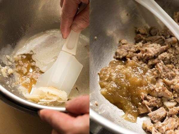 ラードを取り、かたまった脂を肉に入れる様子