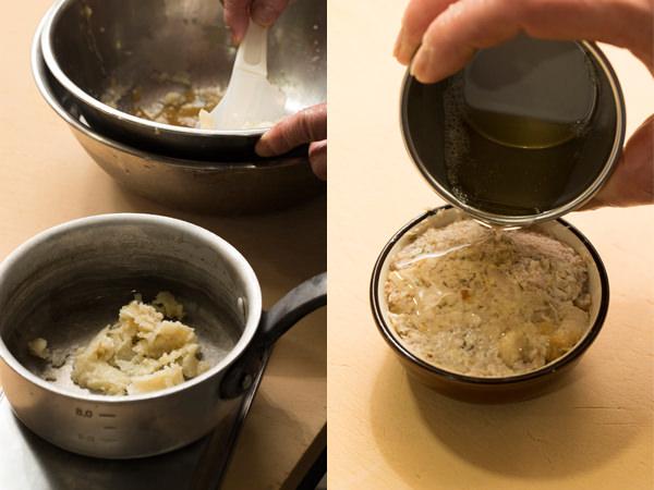 脂を鍋でとかし、リエットに注いでふたしている様子