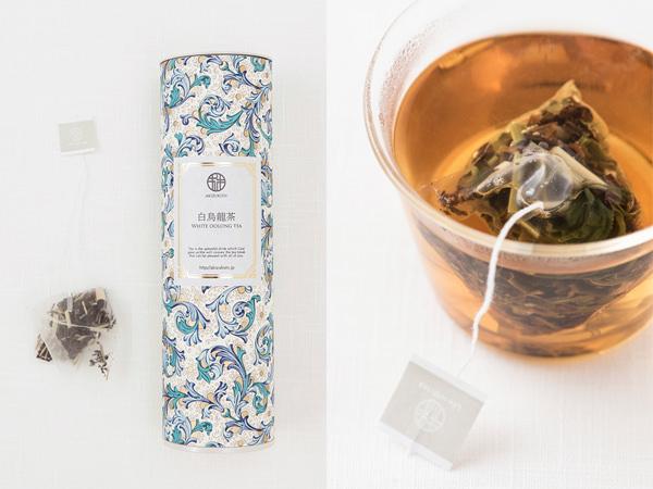 (左)秋月園の白烏龍茶のパッケージ(右)秋月園の白烏龍茶を淹れているところ