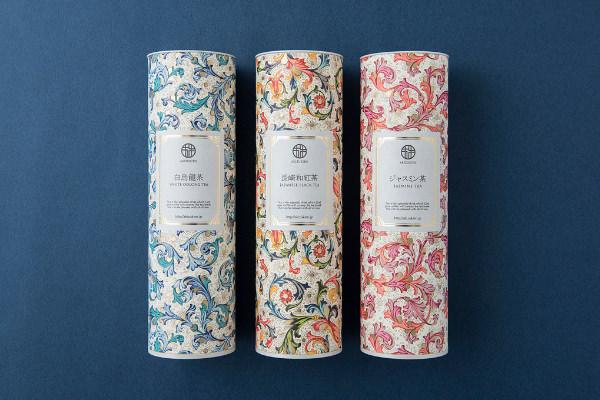 (左)秋月園の白烏龍茶、(中央)長崎和紅茶、(右)ジャスミン茶