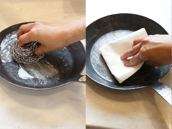 鉄のフライパンを洗って水気を拭き取る様子