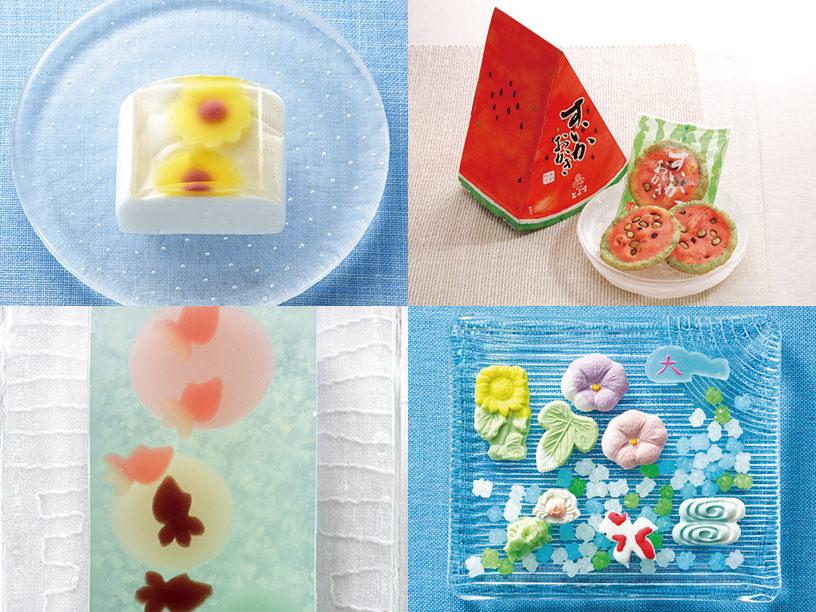 夏モチーフの和菓子の集合カット
