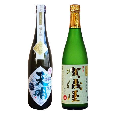 左:曙酒造の亀の尾 純米大吟醸、右:成龍酒造の無濾過 純米大吟醸 グリーンラベル