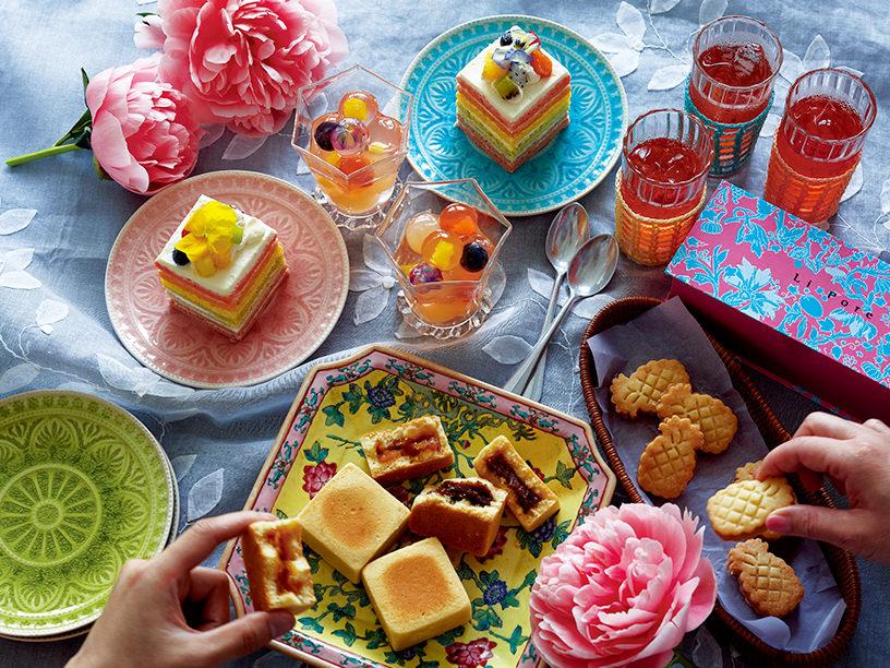 リーポールのフルーツレインボーケーキ、九龍球ゼリー、パイナップルジャムサンドクッキーの集合
