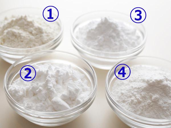 から揚げの衣に使う、小麦粉、片栗粉、コーンスターチ、米粉のイメージ