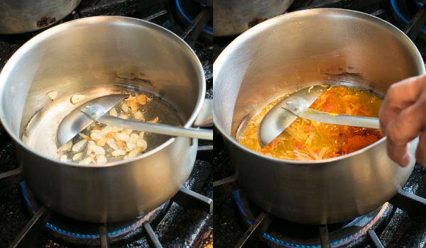 ③ 鍋で材料を炒める