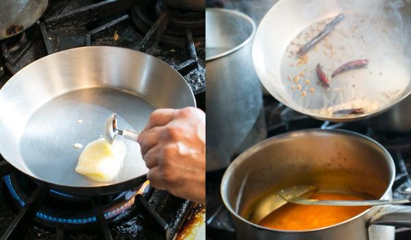左:フライパンにギーを入れたところ、右:タドカを入れるところ