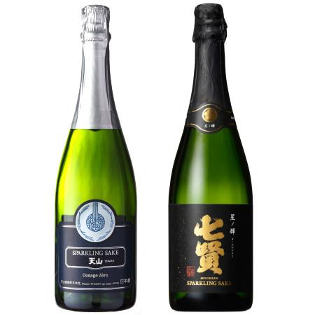 左:天山酒造の天山 スパークリング、右:山梨銘醸の七賢 星ノ輝