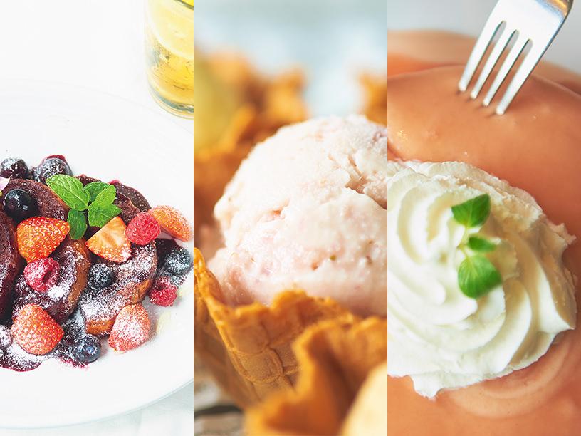 (右)ヘブンリー・アイランド・ライフスタイルのMaki's アサイー フレンチトースト(中)カイルアアイスクリームのとちおとめストロベリーアイスクリーム(左)シナモンズのグァバソースパンケーキ
