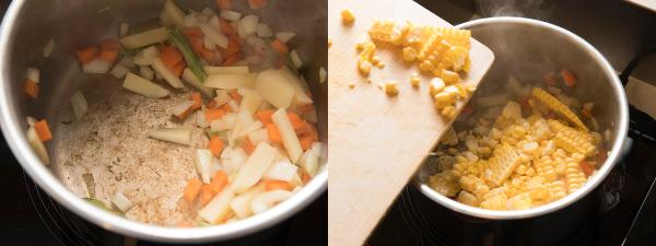 香味野菜を炒めて、とうもろこしを加える様子