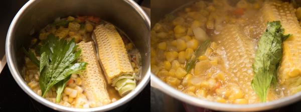 とうもろこしの芯、セロリの葉を加え、煮る様子