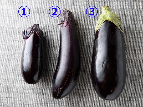炒めものにおすすめのなす3種を並べた様子