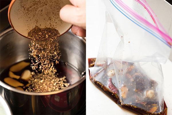 枝豆のピリ辛浅漬けの香味しょうゆだれを作る様子