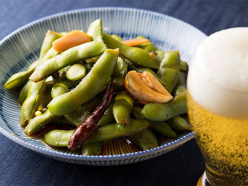 山椒とにんにくが効いたピリ辛枝豆の浅漬けのイメージ