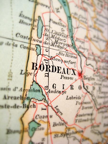ボルドー地方の地図イメージ
