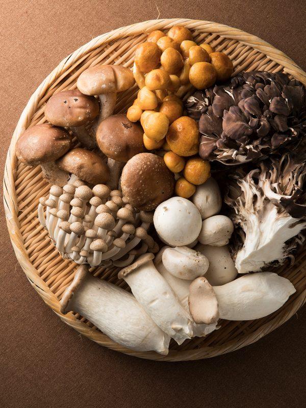 椎茸、しめじ、舞茸、エリンギ、マッシュルーム、なめこをザルに盛ったイメージ
