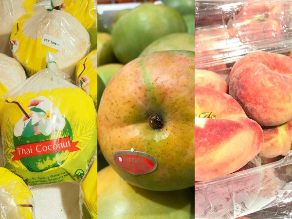 伊勢丹ジュロンイースト店でトロピカルフルーツが売られている様子