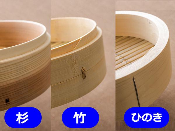 杉、竹、ひのきの素材によるせいろの違い