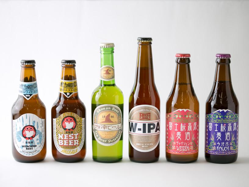 6本のクラフトビールの瓶