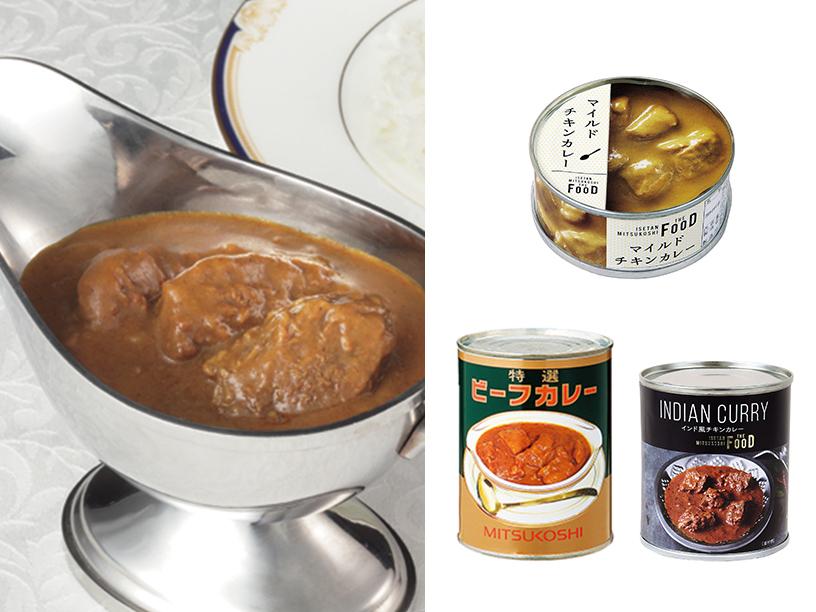 三越特選ビーフカレー、ISETAN MITSUKOSHI THE FOODのマイルドチキンカレー、プレミアムインド風チキンカレーのイメージ