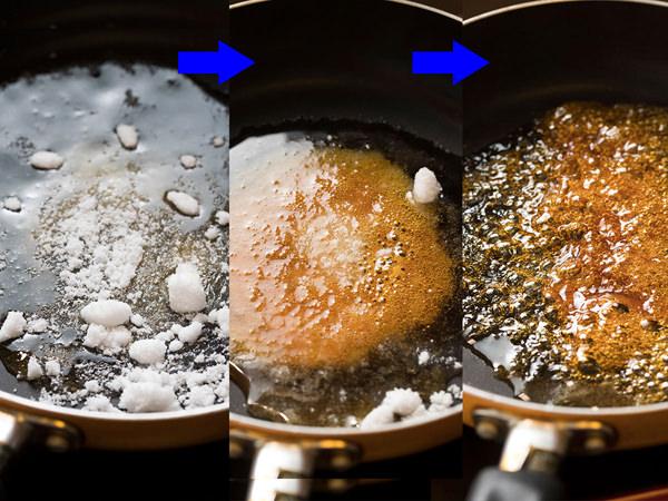 フライパンに砂糖を入れ火にかける