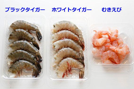 えびの種類の比較。ブラックタイガー、ホワイトタイガー、むきえび
