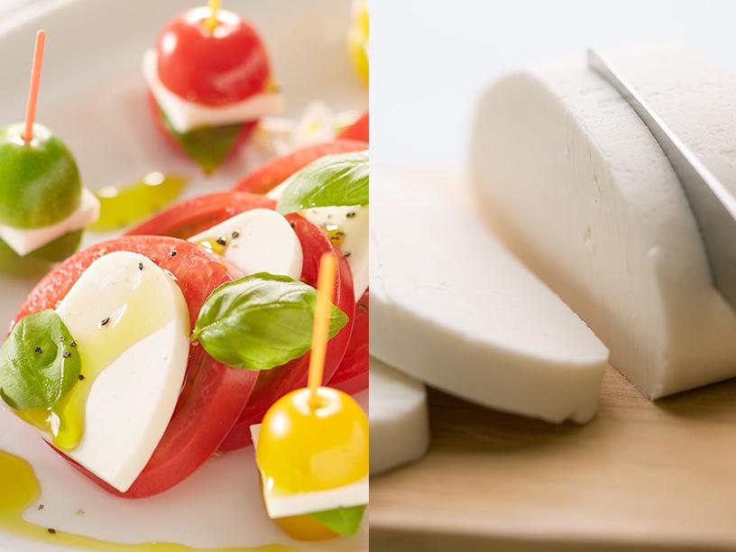 チーズのような豆乳ぶろっくを使ったカプレーゼ/チーズのような豆乳ぶろっくをカットしているイメージ