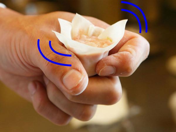 しゅうまいを指でくるくるまわして形を整える様子
