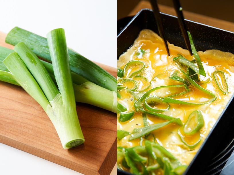 長ネギ入りの卵焼きの調理イメージ