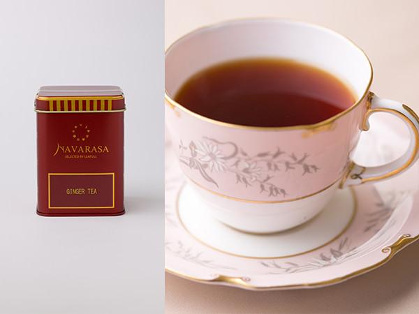 ナヴァラサのジンジャーティーのパッケージと茶液でいれた紅茶