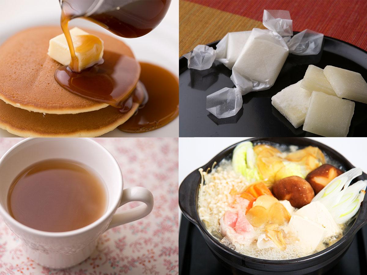 (左から)クインビーガーデンのピュアメープルジンジャーをパンケーキにかけたところ、セゾンファクトリーのI.SPEC 生姜鍋の鍋での使用例、ベジターレの柚子ジンジャーコーディアルのお湯割り