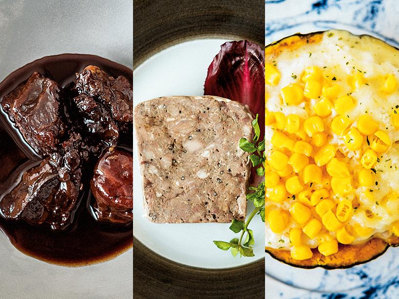 ブレジュの牛ほほ肉の赤ワイン煮込み、パテ・ド・カンパーニュ、ブレジュの北海道の坊ちゃん かぼちゃグラタン スーパースイートコーン